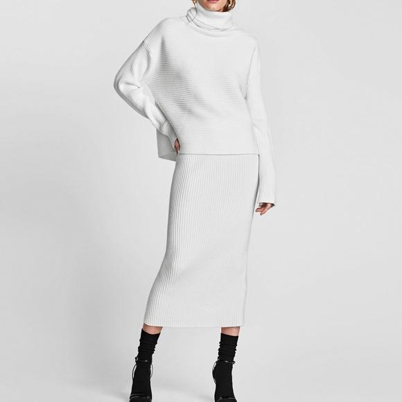 b7b117c2 Zara Skirts | White Ribbed Long Knit Skirt Elastic Waist M | Poshmark